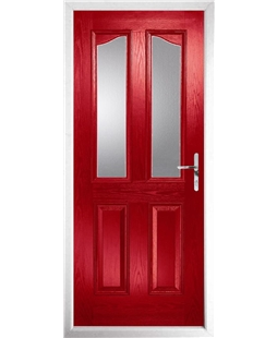 The Birmingham Composite Door in Red with Clear Glazing