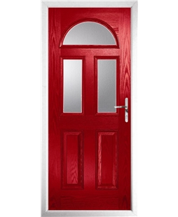 The Glasgow Composite Door in Red with Clear Glazing