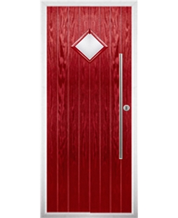 The Wolverhampton Composite Door in Red with Clear Glazing