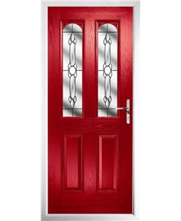 The Aberdeen Composite Door in Red with Crystal Bohemia