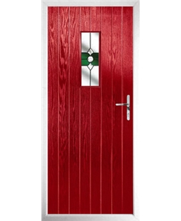 The Taunton Composite Door in Red with Green Crystal Bohemia