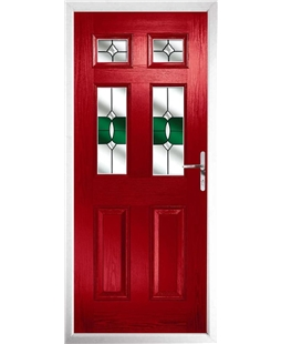 The Oxford Composite Door in Red with Green Crystal Bohemia