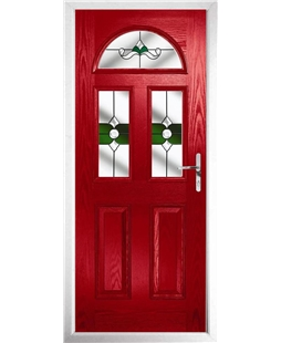 The Glasgow Composite Door in Red with Green Crystal Bohemia