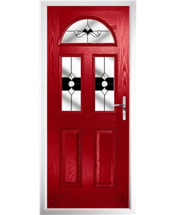 The Glasgow Composite Door in Red with Black Crystal Bohemia