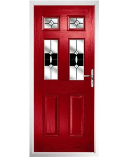 The Oxford Composite Door in Red with Black Crystal Bohemia