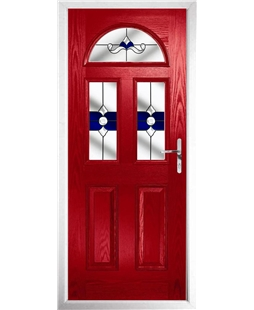 The Glasgow Composite Door in Red with Blue Crystal Bohemia