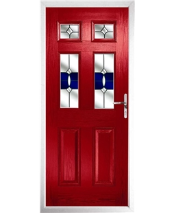 The Oxford Composite Door in Red with Blue Crystal Bohemia