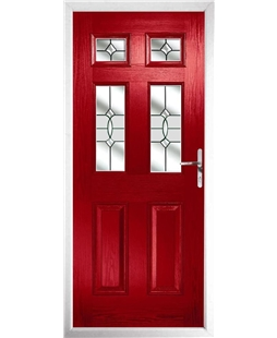 The Oxford Composite Door in Red with Clear Crystal Bohemia