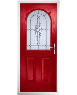The Edinburgh Composite Door in Red with Crystal Bohemia Frost