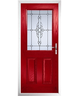 The Farnborough Composite Door in Red with Crystal Bohemia Frost