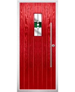 The Zetland Composite Door in Red with Green Crystal Bohemia