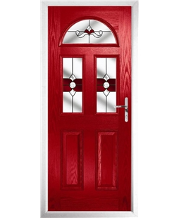 The Glasgow Composite Door in Red with Red Crystal Bohemia