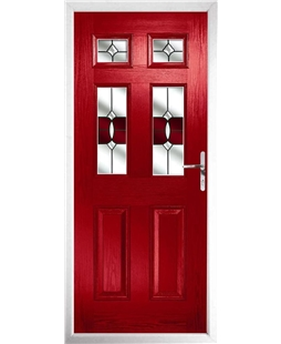 The Oxford Composite Door in Red with Red Crystal Bohemia