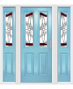 The Birmingham Composite Door in Blue (Duck Egg) with Red Crystal Harmony and matching Side Panels