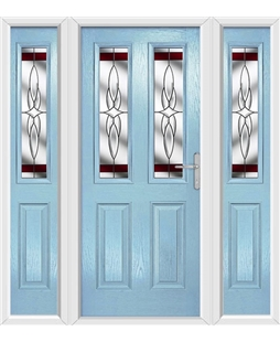 The Cardiff Composite Door in Blue (Duck Egg) with Red Crystal Harmony and matching Side Panels