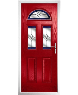 The Glasgow Composite Door in Red with Blue Crystal Harmony