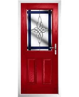 The Farnborough Composite Door in Red with Blue Crystal Harmony