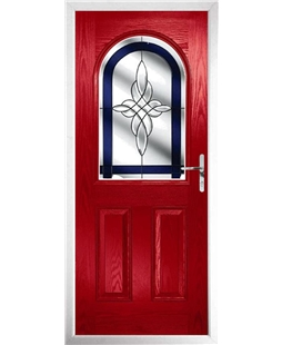 The Edinburgh Composite Door in Red with Blue Crystal Harmony