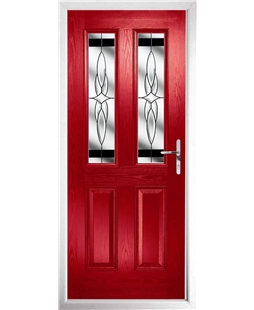 The Cardiff Composite Door in Red with Black Crystal Harmony