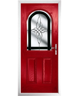 The Edinburgh Composite Door in Red with Black Crystal Harmony