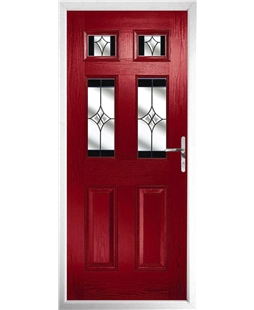 The Oxford Composite Door in Red with Black Crystal Harmony