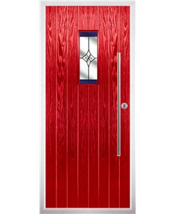 The Zetland Composite Door in Red with Blue Crystal Harmony