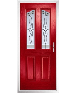 The Birmingham Composite Door in Red with Crystal Harmony Frost