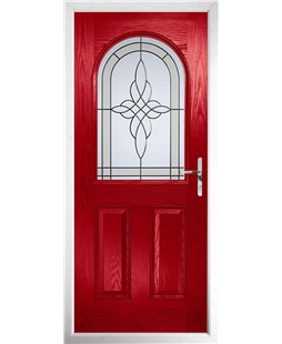 The Edinburgh Composite Door in Red with Crystal Harmony Frost