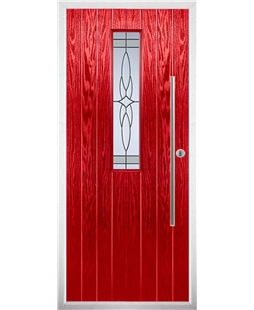 The York Composite Door in Red with Crystal Harmony Frost