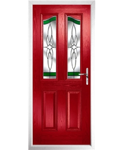 The Birmingham Composite Door in Red with Green Crystal Harmony