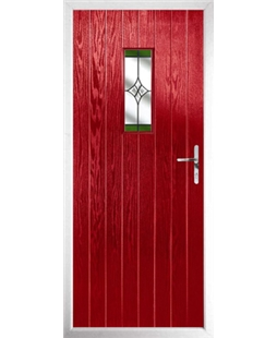 The Taunton Composite Door in Red with Green Crystal Harmony