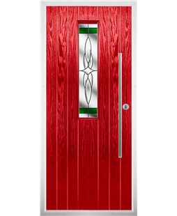 The York Composite Door in Red with Green Crystal Harmony
