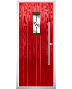 The Zetland Composite Door in Red with Green Crystal Harmony