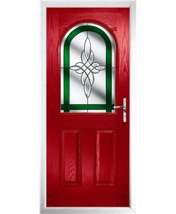 The Edinburgh Composite Door in Red with Green Crystal Harmony
