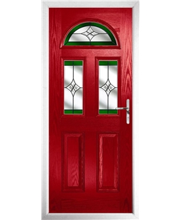 The Glasgow Composite Door in Red with Green Crystal Harmony