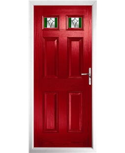 The Ipswich Composite Door in Red with Green Crystal Harmony