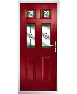 The Oxford Composite Door in Red with Green Crystal Harmony