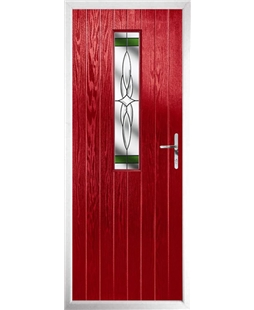 The Sheffield Composite Door in Red with Green Crystal Harmony