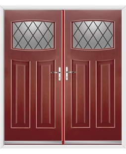 Newark French Rockdoor in Ruby Red with Diamond Lead