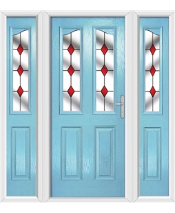 The Birmingham Composite Door in Blue (Duck Egg) with Red Diamonds and matching Side Panels