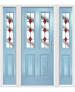 The Cardiff Composite Door in Blue (Duck Egg) with Red Diamonds and matching Side Panels