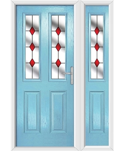 The Cardiff Composite Door in Blue (Duck Egg) with Red Diamonds and matching Side Panel
