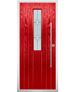 The York Composite Door in Red with Classic Glazing