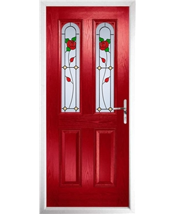 The Aberdeen Composite Door in Red with English Rose