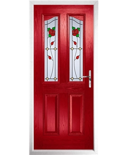 The Birmingham Composite Door in Red with English Rose