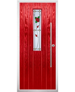 The York Composite Door in Red with English Rose