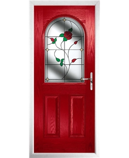 The Edinburgh Composite Door in Red with English Rose