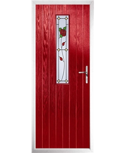 The Sheffield Composite Door in Red with English Rose