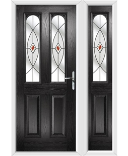 The Aberdeen Composite Door in Black with Red Fusion Ellipse and matching Side Panel