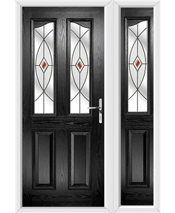 The Birmingham Composite Door in Black with Red Fusion Ellipse and matching Side Panel